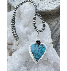 Annette Colby - Jeweler Morenci Turquoise Heart with Flower Necklace