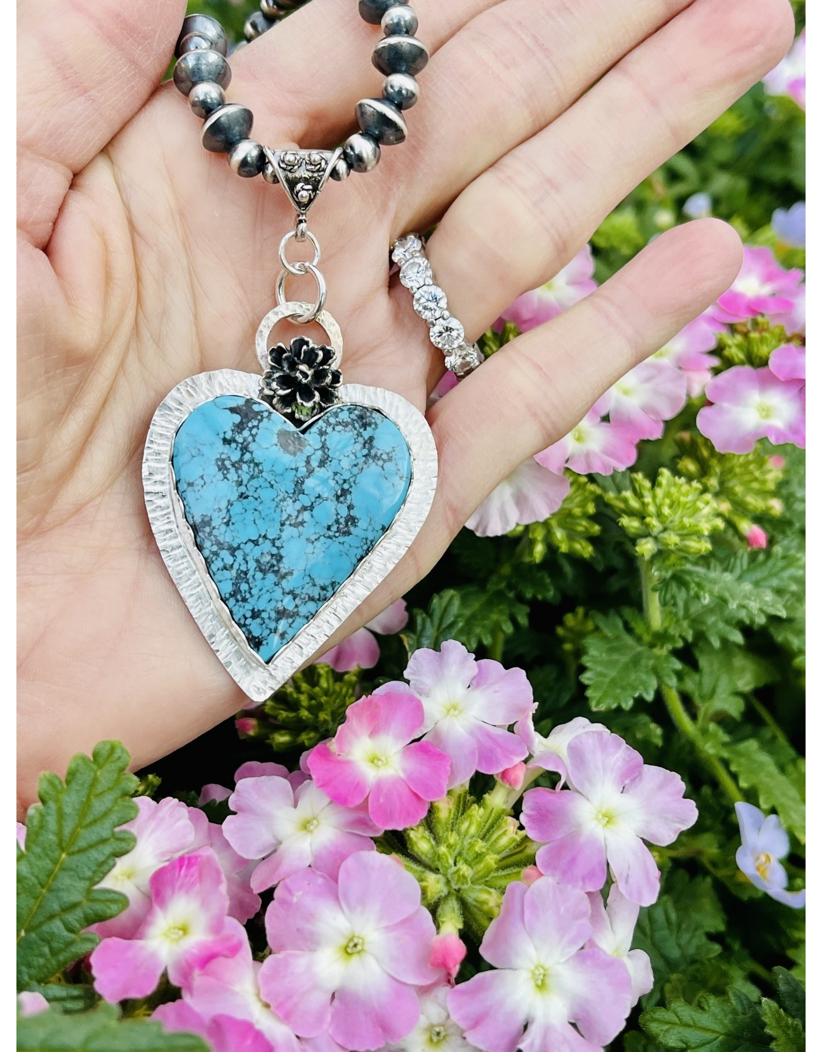 Annette Colby - Jeweler Morenci Turquoise Heart with Flower Necklace  by Annette Colby