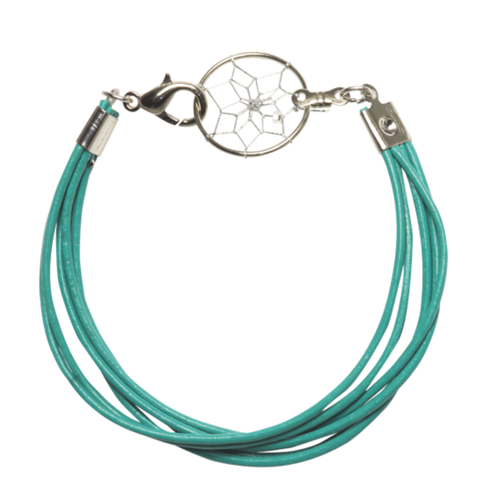Dream Catcher Bracelet With Leather Cord - TURQ