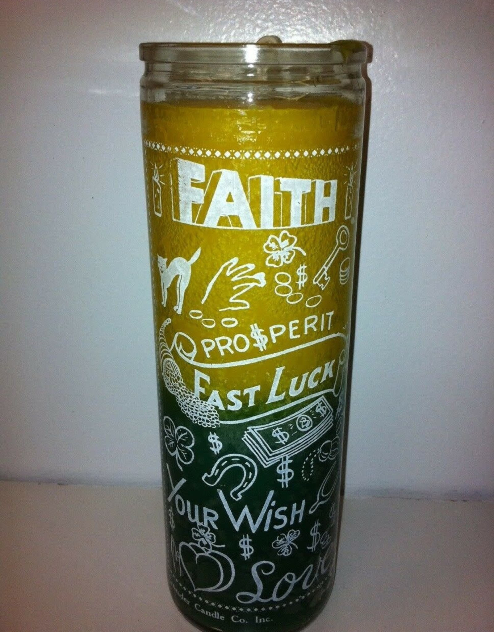 fast Luck Faith  7 Day Candle Yellow/Green)