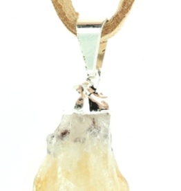 Citrine Natural Point Necklace On Suede Cord