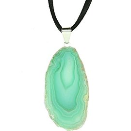 GREEN AGATE SLICE NECKLACE