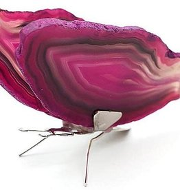 Pink Agate Slice Butterfly
