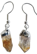 Earrings Crystal  Rough Point Citrine