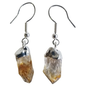 Crystal Earrings Rough Point Citrine