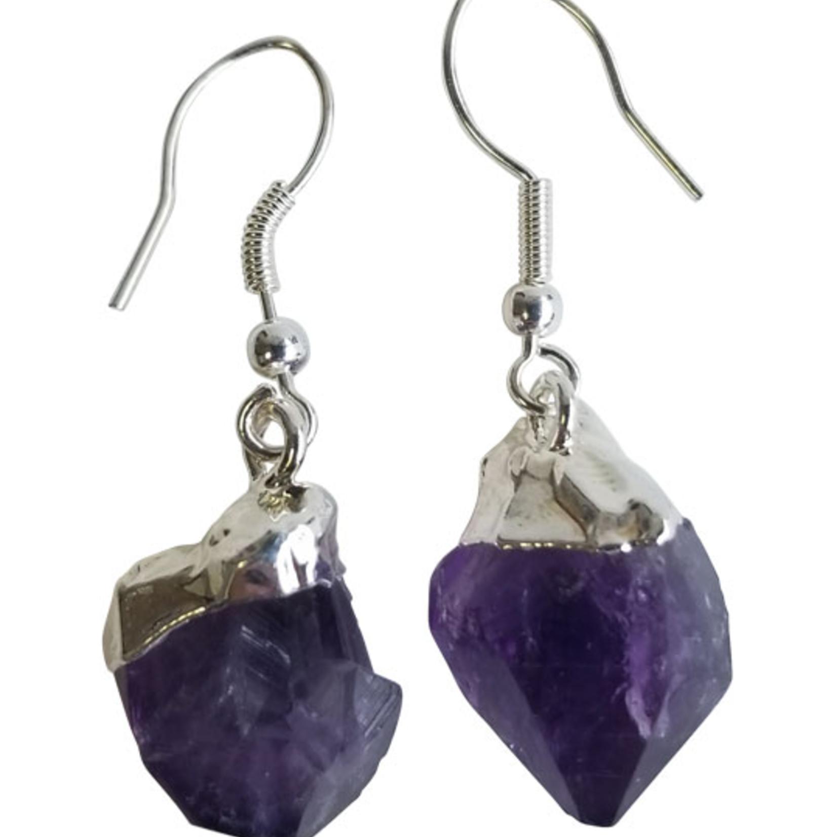 Earrings Crystal Rough Point  Amethyst