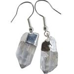 Earrings Crystal Rough Point Clear Quartz