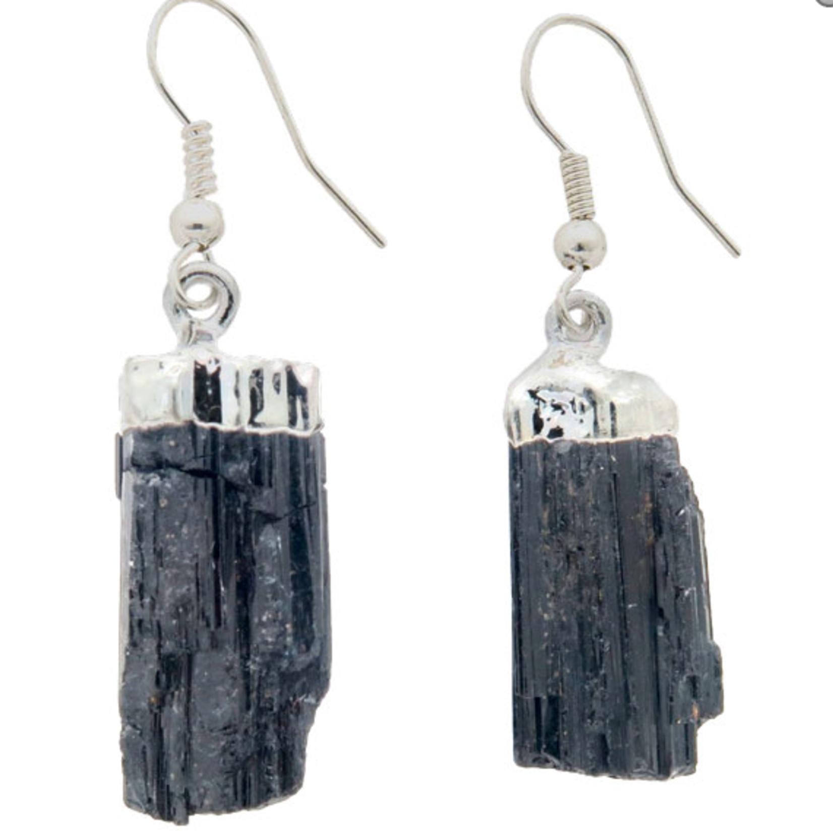 Earrings Mineral Rough Black Tourmaline