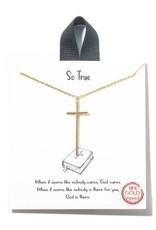 18K Long Cross Chain Necklace