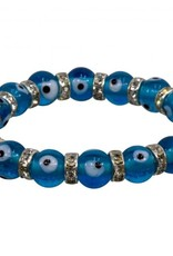Aqua Evil Eye w/Crystals Bracelet