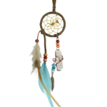 Brown and Turquoise Magical Dream Catcher detailed with quartz crystal