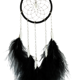 Dream Catcher - Black - with chain and hackle feathers.