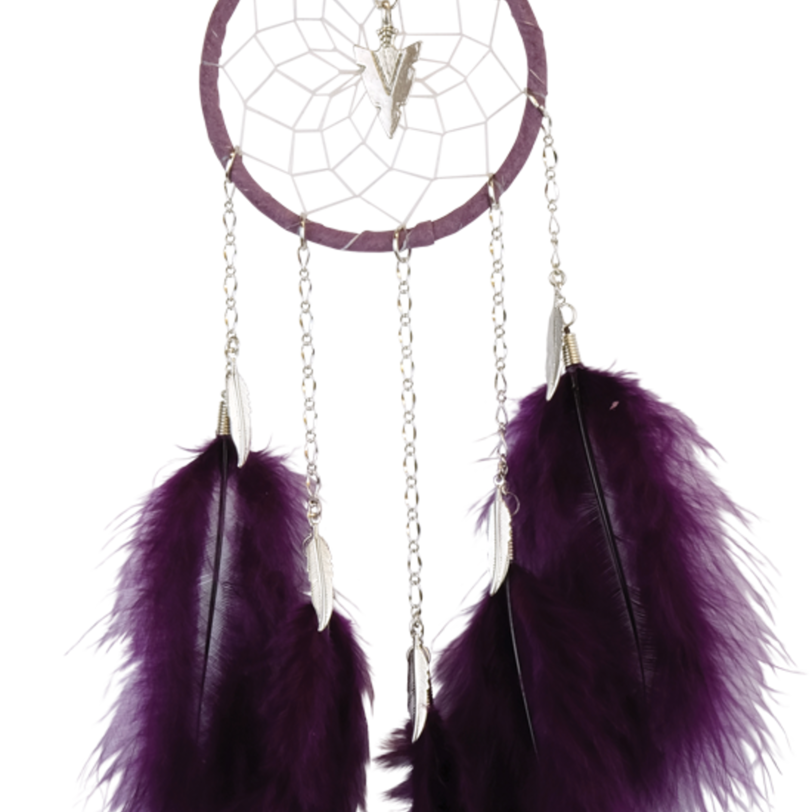 Dream Catcher - Purple - with chain and hackle feathers.