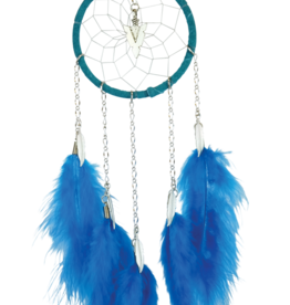 Dream Catcher - Turquoise - with chain and hackle feathers.