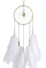 Dream Catcher - White - with chain and hackle feathers.