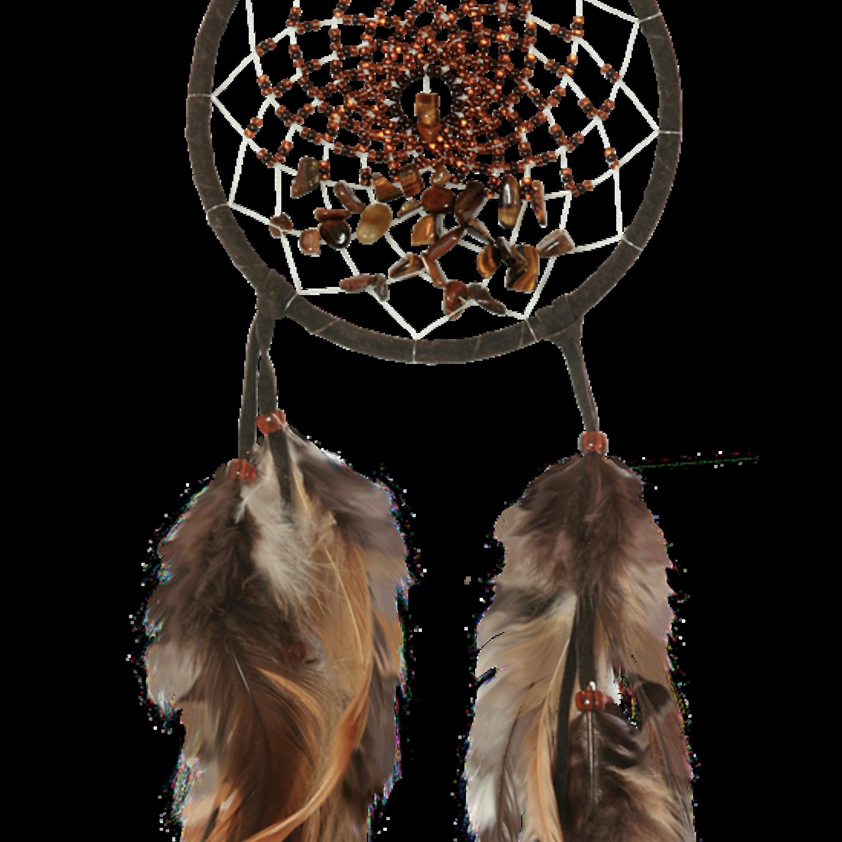 Dream Catcher Energy Flow  DARK BROWN with tiger eye semi-precious stones