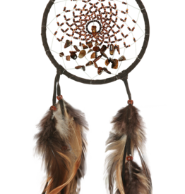 Energy Flow Dream Catcher DARK BROWN with tiger eye semi-precious stones