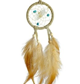 Tan Vision Seeker Dream Catcher detailed with quartz crystal in the centre of the web.