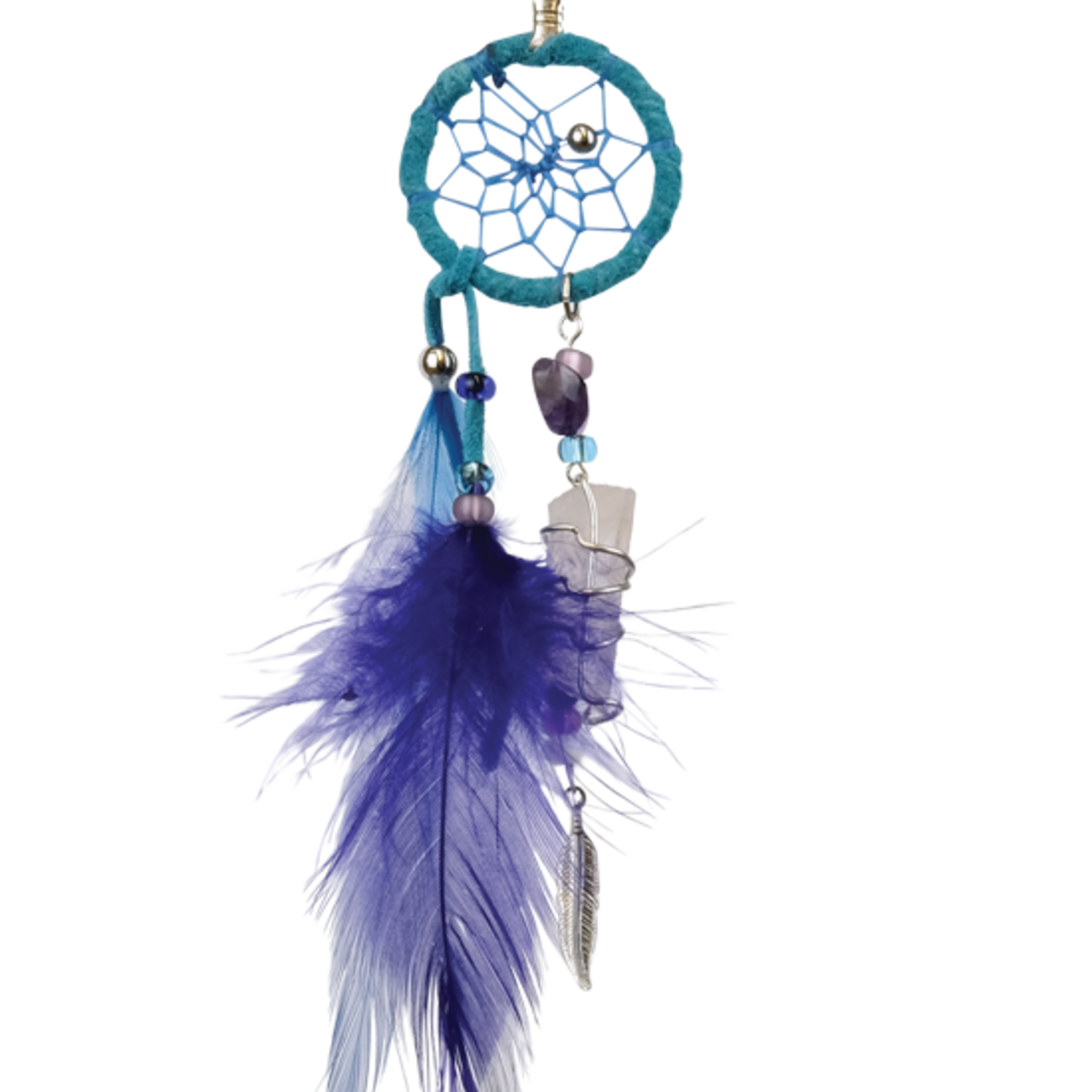 Dream Catcher Turquoise Magical  detailed with quartz crystal