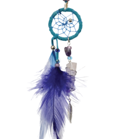 Turquoise Magical Dream Catcher detailed with quartz crystal