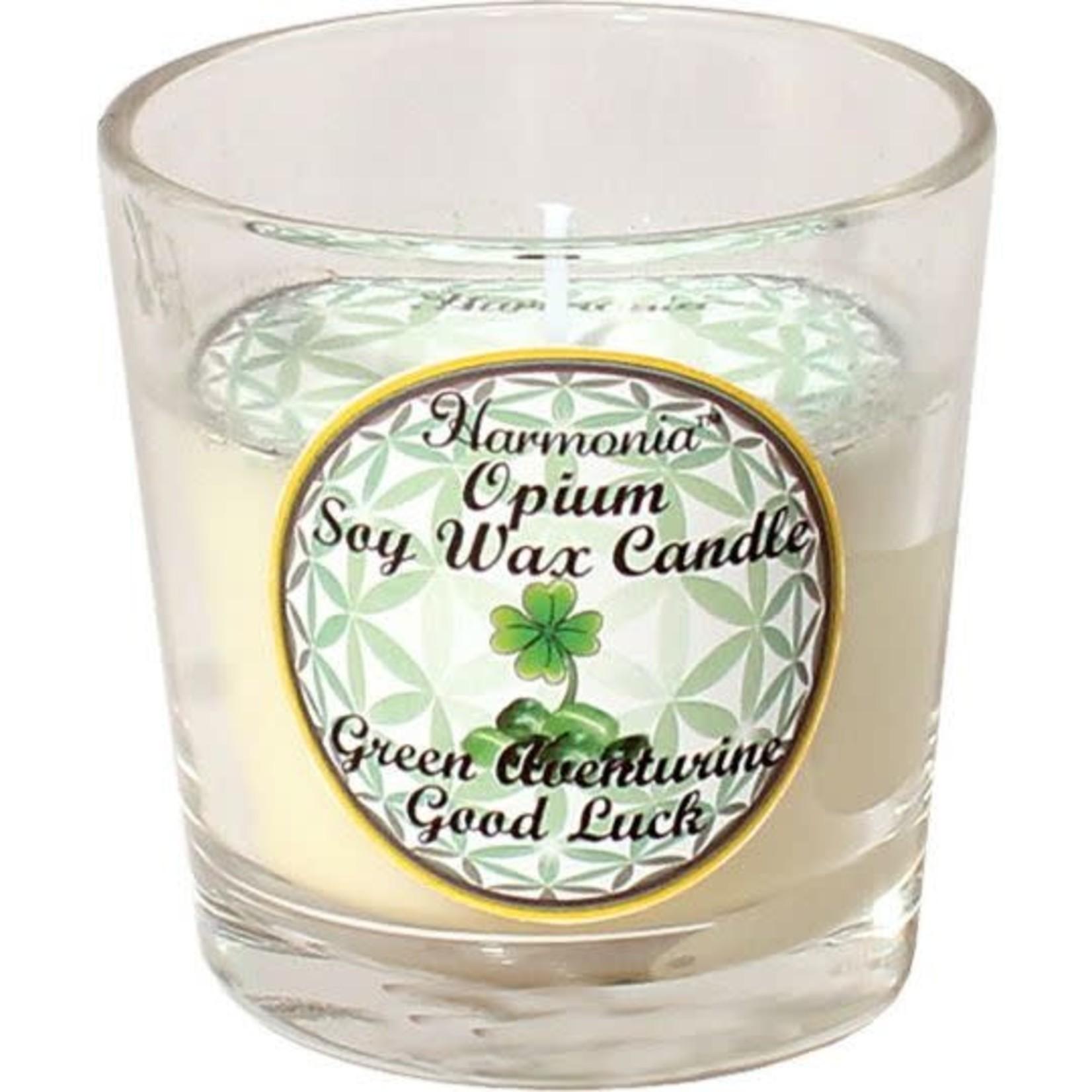 Votive Candle Harmonia Soy Gem - Good Luck Green Adventurine