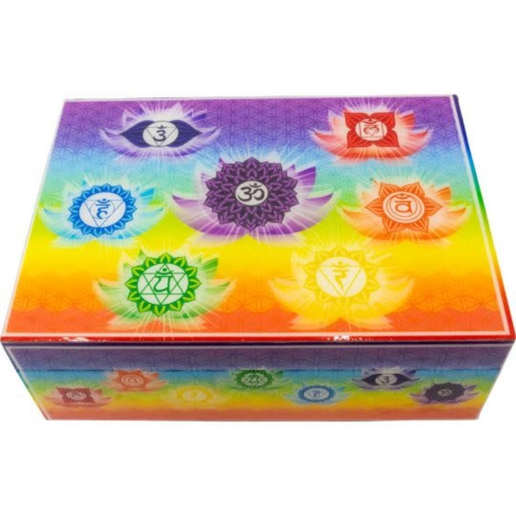 "Wood Lined Box -  Printed Chakra 7"" x 5"""