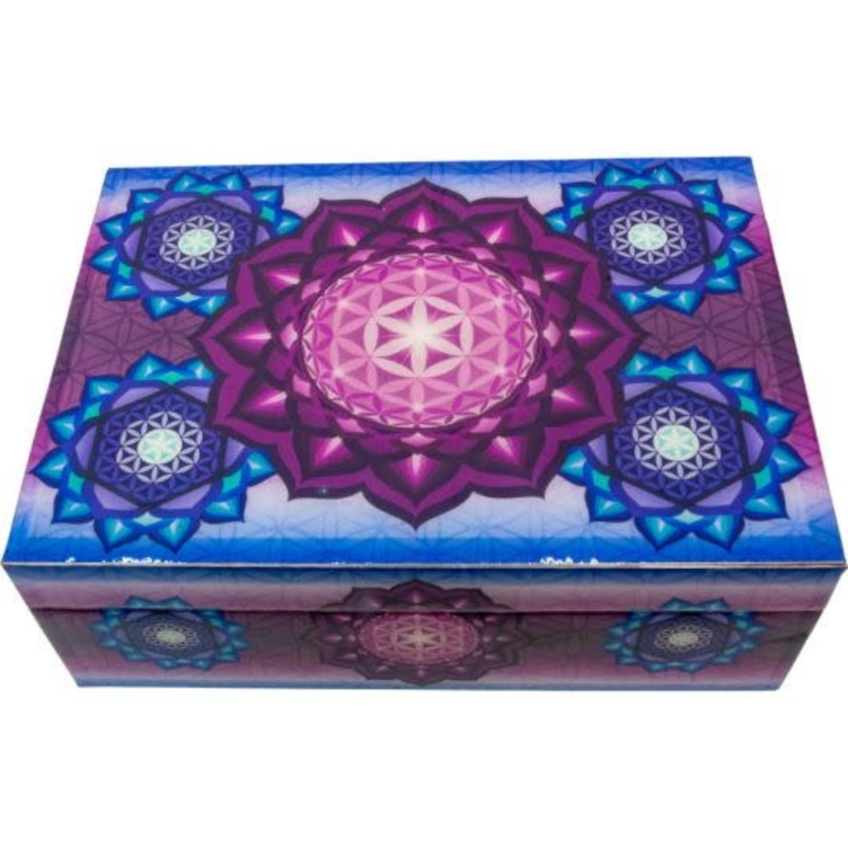 Wooden Printed Box- Printed Top Flower Of Life
