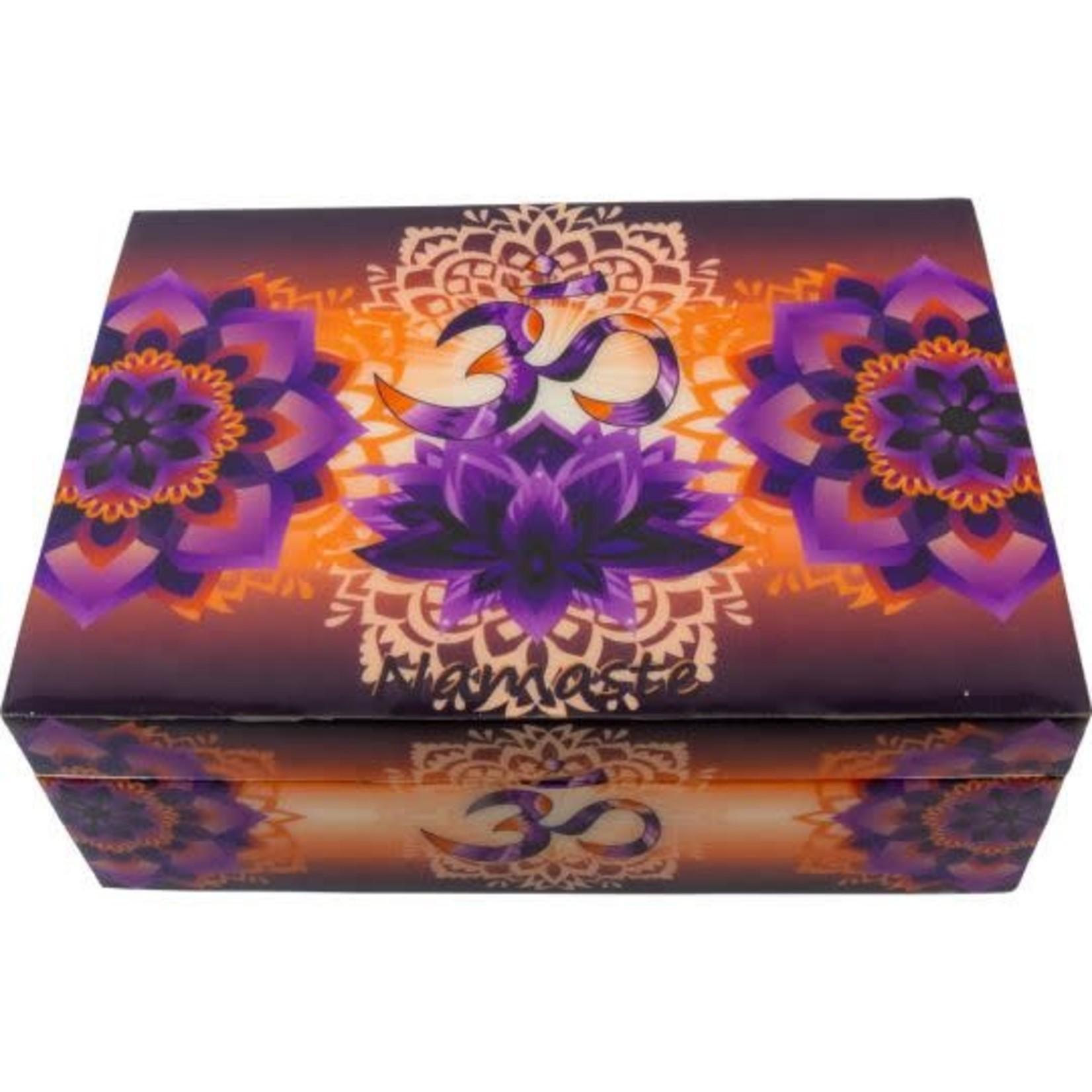 """Wood Lined Box -  OM Namaste 7"""" x 5"""""""