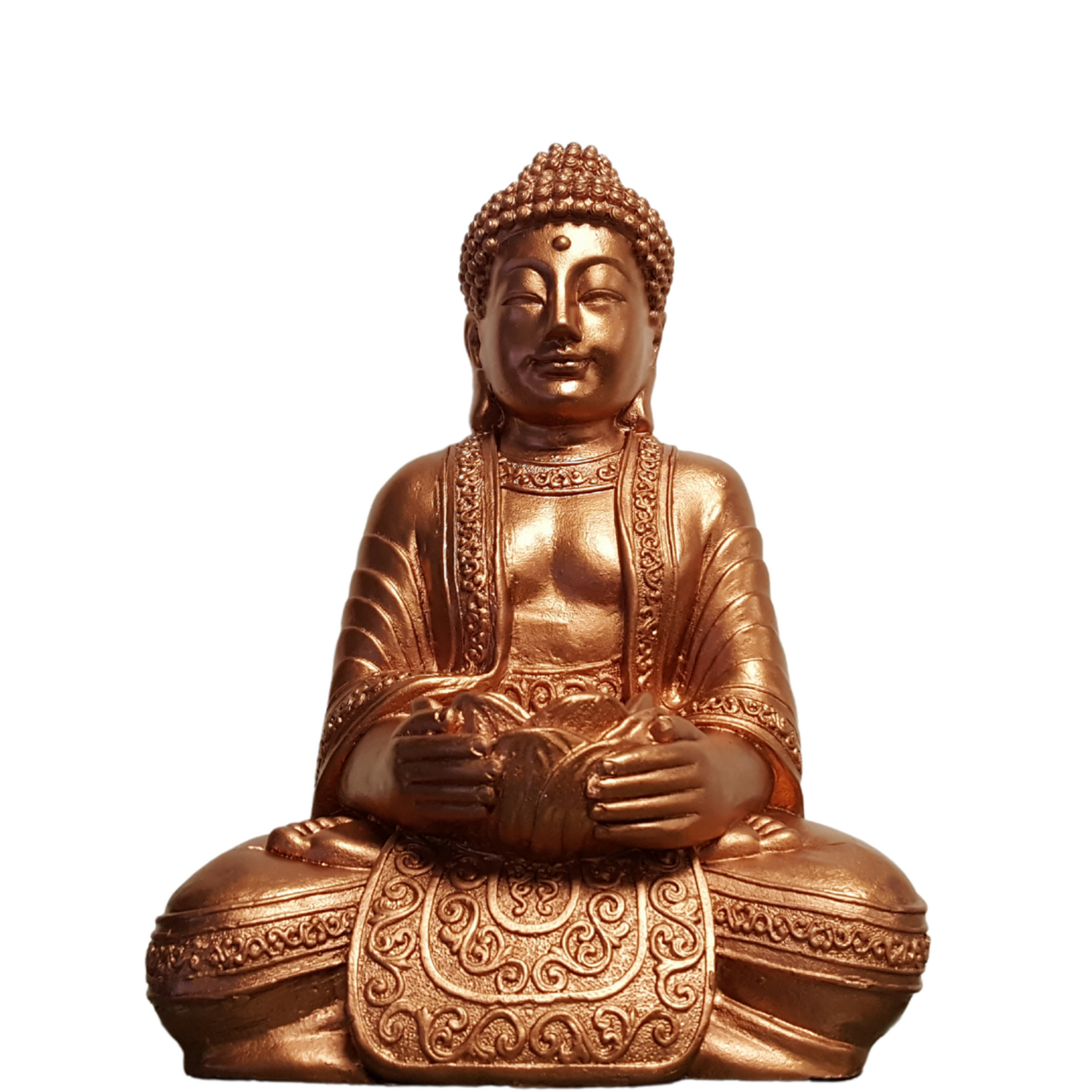 Buddha Guatama With T-light Holder Coper