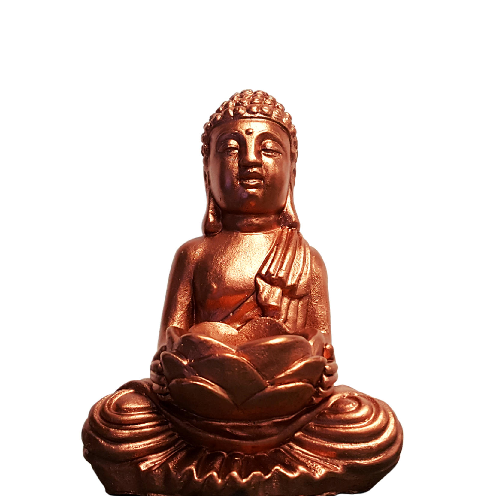 Gautama Buddha  Copper w Lotus Flower T-Light Holder