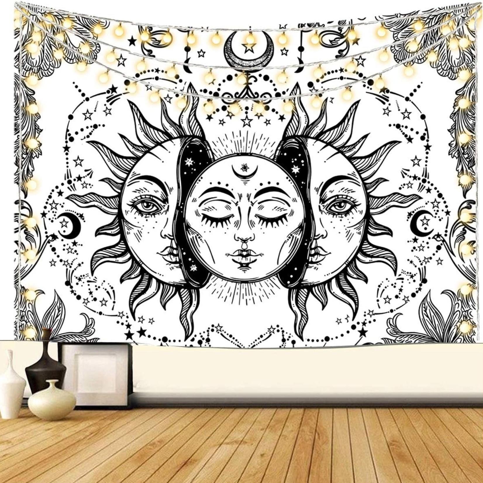 Sun & Moon Tapestry  White