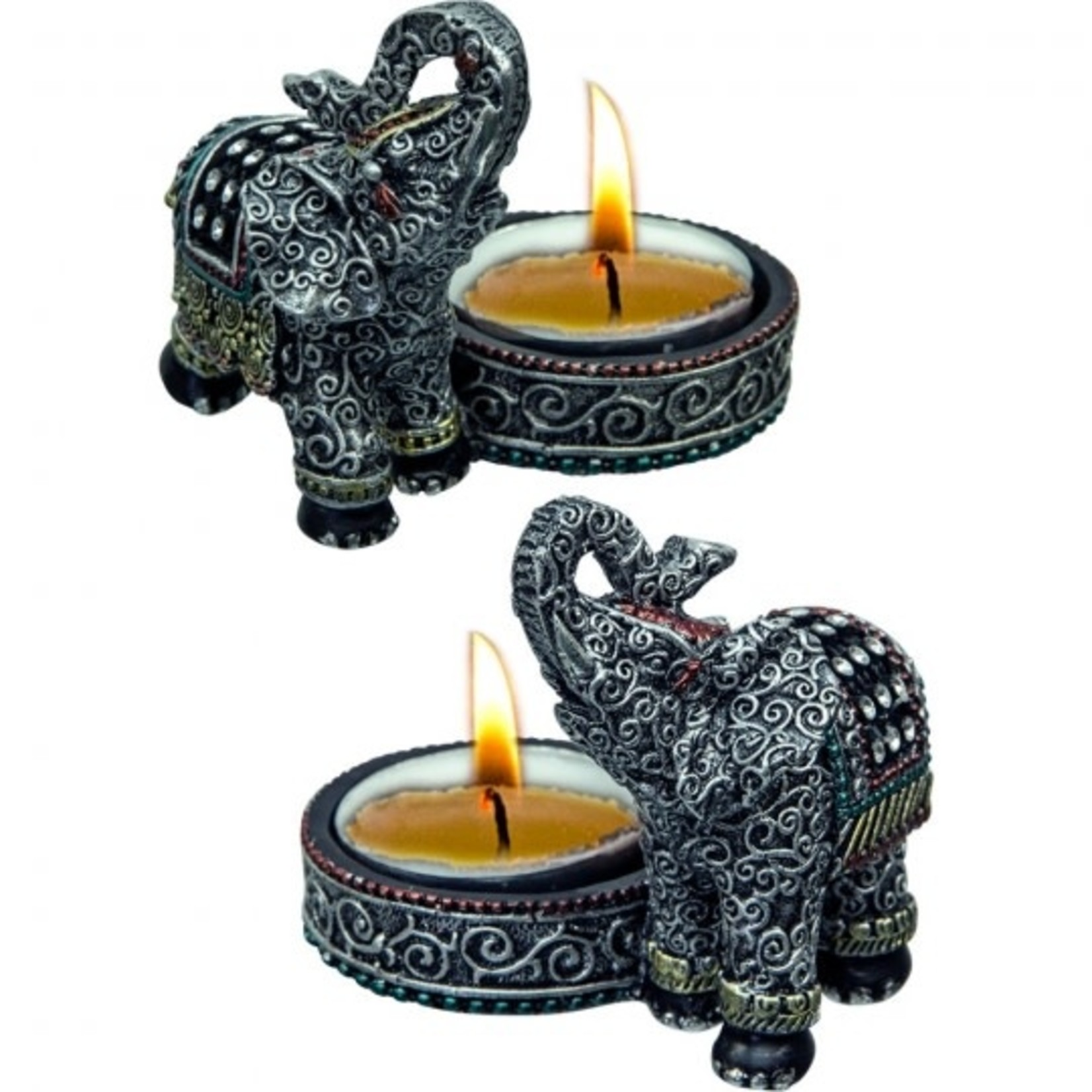 Resin Lucky Elephant Tea light Holder