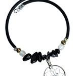 Dream Catcher Coil Bracelet with Blue Goldstone