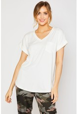 V-Neck One Pocket Knit Top Ivory