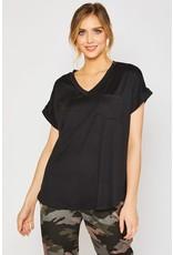 V-Neck One Pocket Knit Top Black