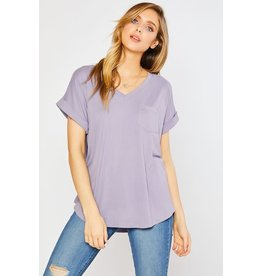 V-Neck One Pocket Knit Top Lavender