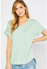V-Neck One Pocket Knit Top Pale Sage