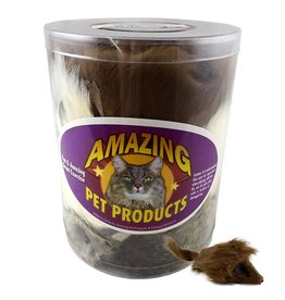 "Amazing Pet Products Fur Mouse Long Hair 3"" Squeak SINGLE"