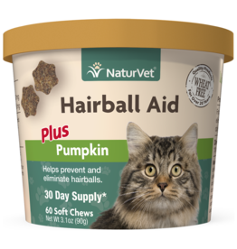 NaturVet Soft Chew Hairball Plus Pumpkin 60CT / Cat