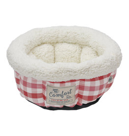 Happy Tails Round Bed Cranberry Plaid 15"