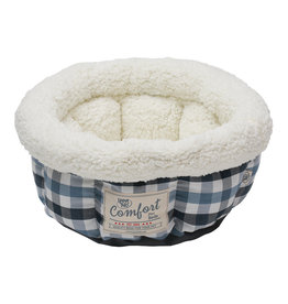 Happy Tails Round Bed Blue & Grey 15"