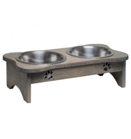 LovingPets Raised Wooden Modern Diner Grey 1 QT