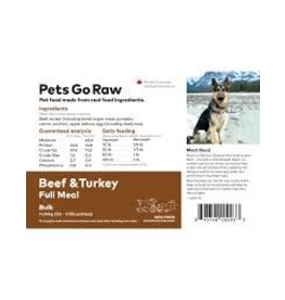 Pets Go Raw Beef/Turkey Blend Full Meal (Approx. 50 Patties)