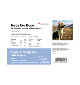 Pets Go Raw Ground Chicken with Organ Meat 25lb box (appox 50 patties)