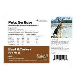Pets Go Raw Beef/Turkey Blend Full Meal 8 x 1/2lb Patties