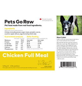 Pets Go Raw Chicken Full Meal 25lb (Approx. 50 Patties)