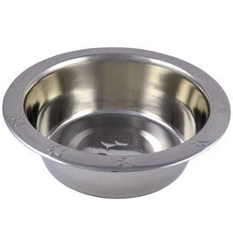 Unleashed Standard Stainless Steel Bowl Paw Prints 64OZ