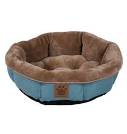 """SnooZZy Rustic Elegance Round Shearling Bed Teal 17x4.5"""""""