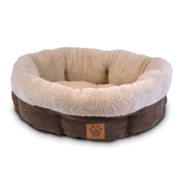 """SnooZZy Rustic Nat Sur 21"""" Shearling Round Coffee Chenille"""