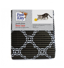 """Fresh Kitty Foam Litter Mat 40"""" x 25"""" B&W Quatrefoil I"""